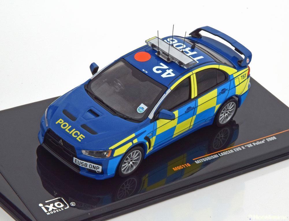 MITSUBISHI LANCER EVO 10 2008 POLICE UK IXO MOC116 1 43 RHD RIGHT HAND DRIVE