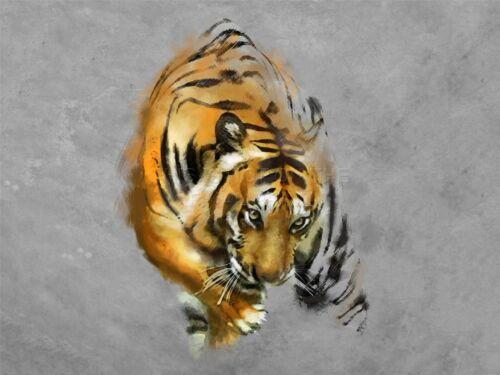 PRINT POSTER PAINT DRAWING ANIMAL BIG CAT TIGER STRIPES PREDATOR MIST LFMP0222