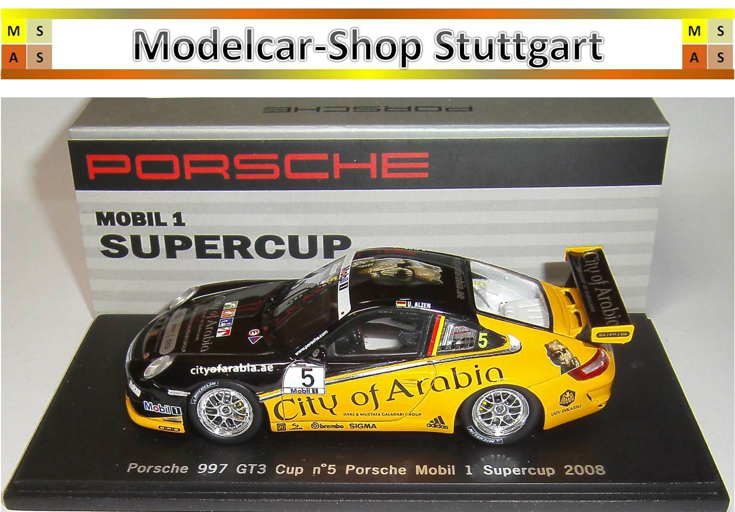 Porsche 911 GT3 Cup Team SPS Uwe Alzen Mobil 1 SUPERCUP 2008 Spark 1 43 - NEW