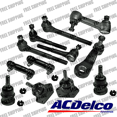 12 Pc New Suspension for Chevrolet C10 P30 R10 GMC C1500 P30 R1500 R1500 Suburban w//Power Steering System Inner Outer Tie Rod Ends Adjusting Sleeves Upper Lower Ball Joints Idler /& Pitman Arms
