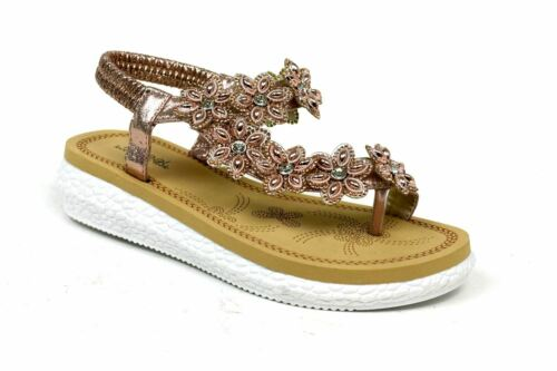Women Toe Post Sandals Cushioned Comfortable Sling Back Jewel Trimmed Shoes