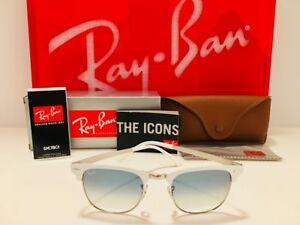 94f9712ec05 Ray-Ban Clubmaster Metal RB 3716 90883f White Silver Sunglasses Blue  Gradient