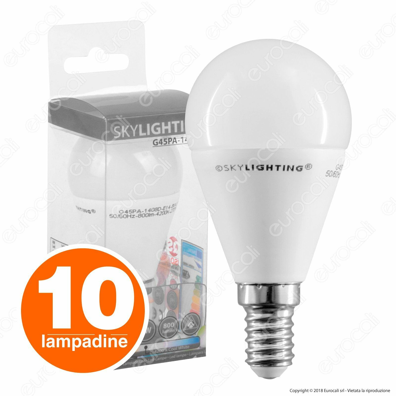 negozio online outlet 10 LAMPADINE LED SKYLIGHTING E14 MiniGlobo 8W Bulbo SMD SMD SMD 3000K 4200K 6400K  più sconto