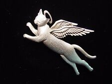 """""""JJ"""" Jonette Jewelry Silver Pewter Winged Angel CAT Pin ~ CATS are Angels"""