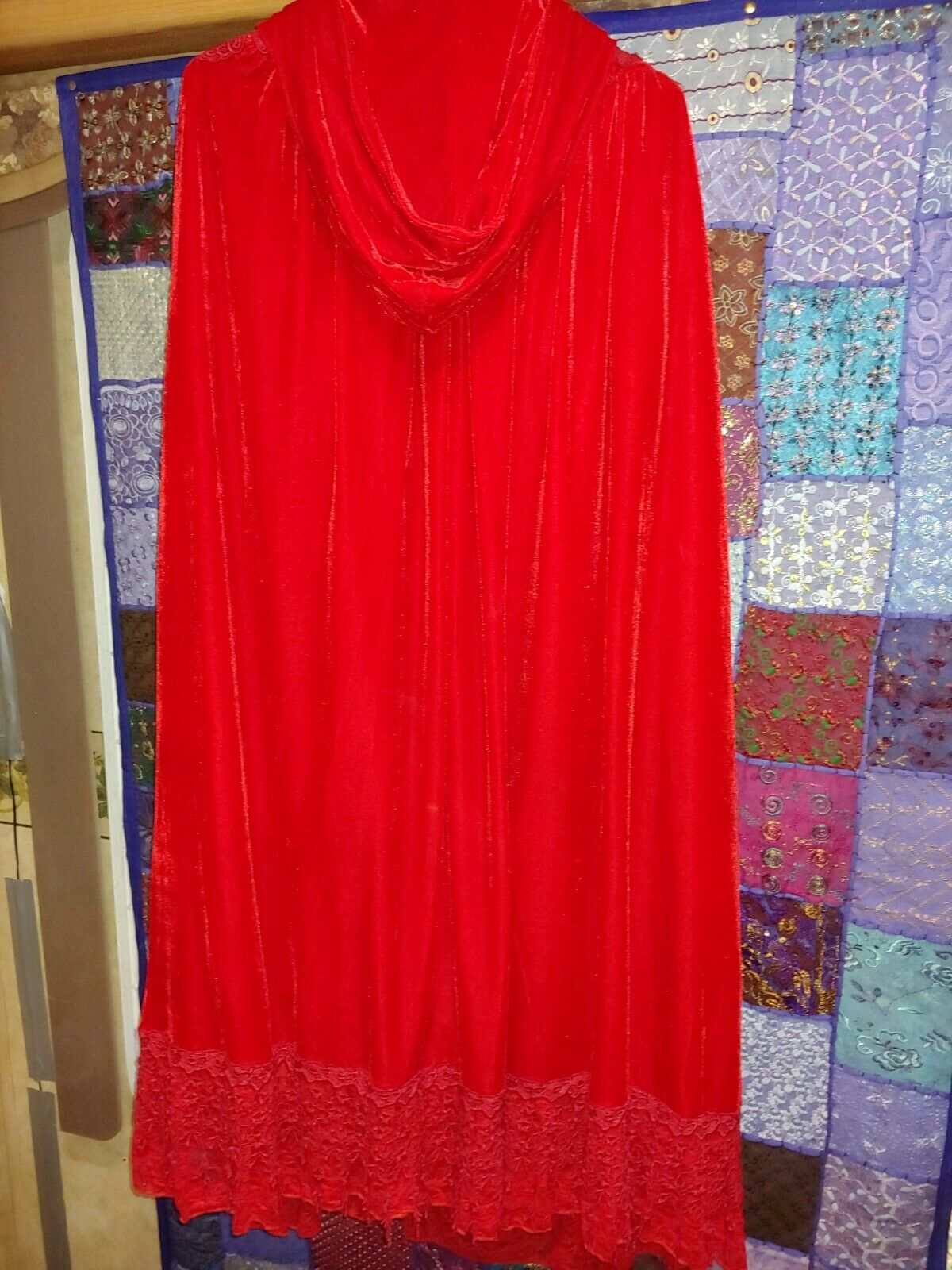 Red velvet Victorian cape with hood - image 2