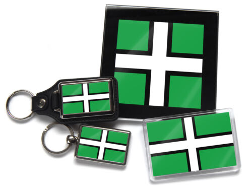 Devon St Petroc/'s Cross Flag Uk County Quality Chrome Keyring Picture Both Sides