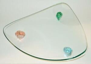 "Triangular Glass Serving Dresser Tray w/ Colorful Feet, 12 1/2"" Across"