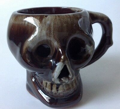 Vintage Brown White Drip Glaze Skull Tiki Mug Coffee Cup Mid Century