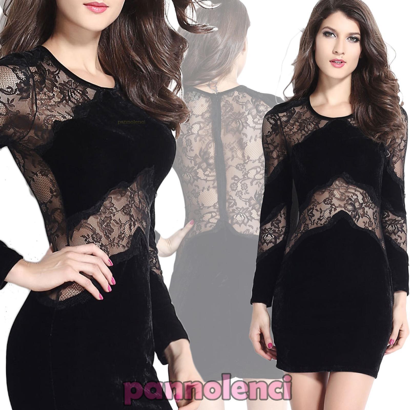 Vestito donna mini abito inserti pizzo trasparente elegante party party party sexy DL-1142 902973