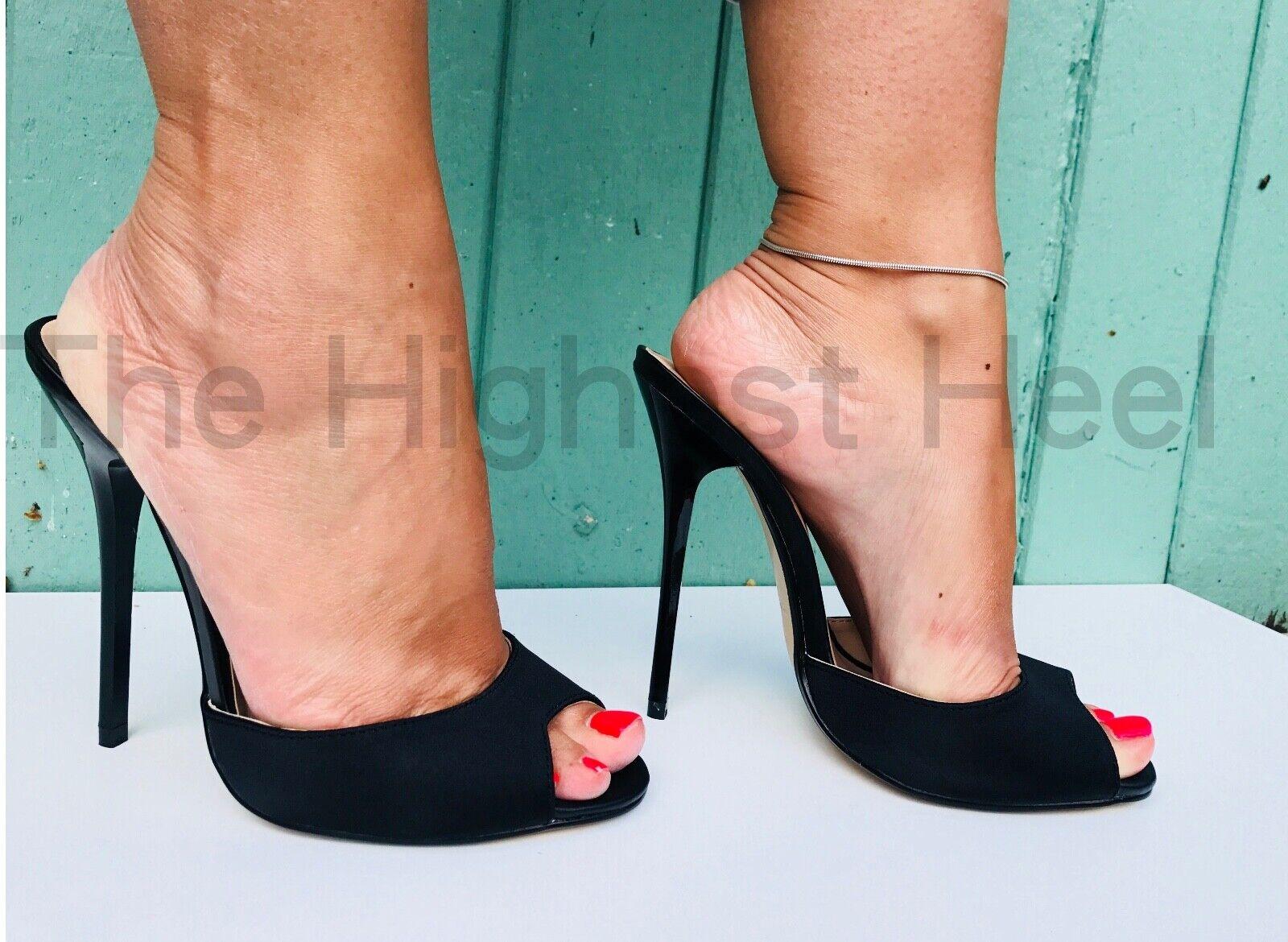 Sexy killer 13.5cm extreme super high heel mules toe pump fetish black satin