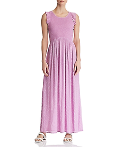 Aqua Smocked Polka Dot Maxi Dress Color Violet Size