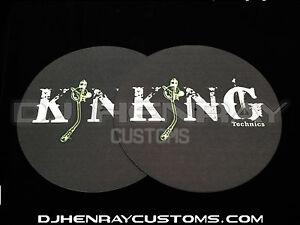 King Technics black Dj Slipmats (pair) sl1200mk2 mk5 m3d m5g or any turntable