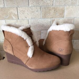 22a482d60188 Image is loading UGG-JEOVANA-CHESTNUT-SUEDE-WATERPROOF-ANKLE-WEDGE-BOOTIES-