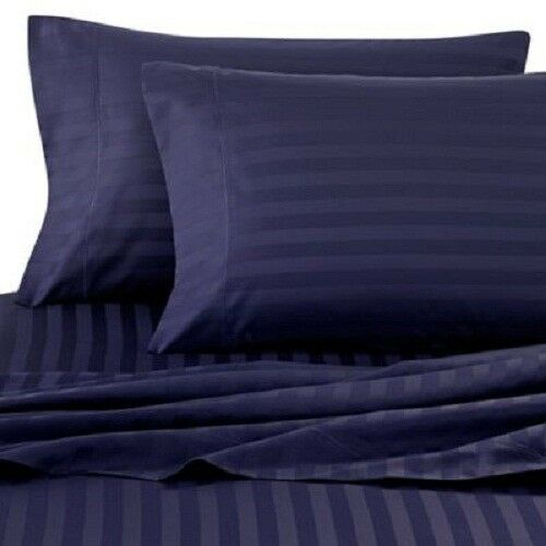US Bedding Items- 1000 Thread Count 100% Pima Cotton Navy bluee Stripe_