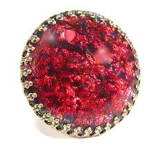 SoHo® Ring vintage bronze bohemia 1960er Jahre handgemachtes Glas red fireopal