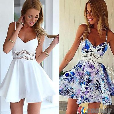 Womens Sexy V Neck Summer Strappy Party Evening Mini Dress Sundress Short Skirt