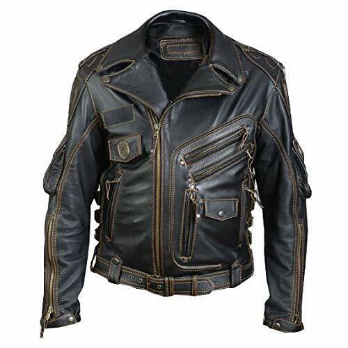 Vintage Café Racer Distressed Black Army Style Retro Real Biker Leather Jacket