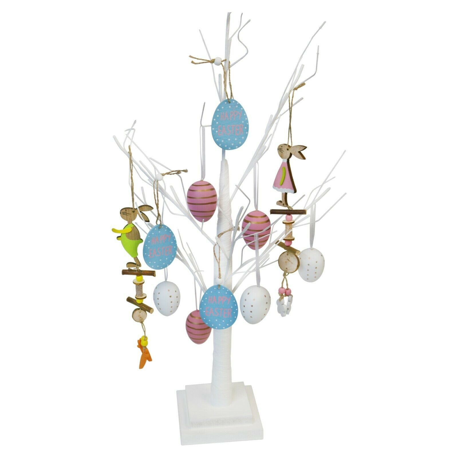 Details About Large White Tabletop Easter Tree Centrepiece With Hanging Egg Bunny Decorations