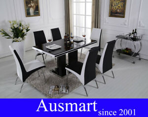 135cm-glass-top-Dining-table-with-4-chairs-Free-postage-to-Melbourne-metro