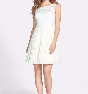 Betsey Johnson Womans Cocktail Lace Fit Flare Dress Size 10 Whiteneonlime Ebay