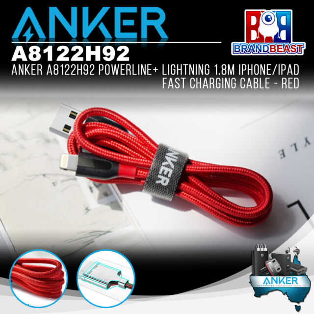 Anker A8122H92 PowerLine+ Lightning 0.9m iPhone/iPad Fast Charging Cable - Red