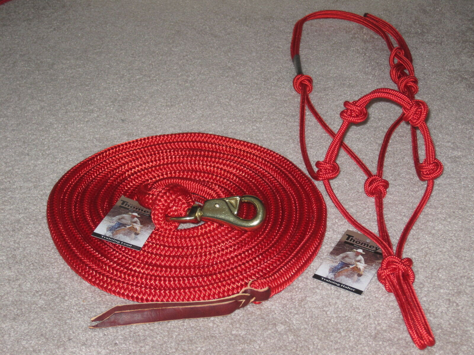 THOMEY NATURAL HORSE TRAINING HALTER & 14FT. LEAD ROPEGREAT FOR GROUNDWORK RED