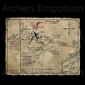 Thorin-039-s-Map-Parchment-Art-Print-Replica-Official-Hobbit-LotR-Smaug-Weta
