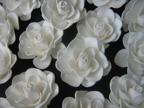 2.5 FOAM GARDENIA Rose Wedding Bridal HAIR CLIP WHITE Hawaiian Prom Party New