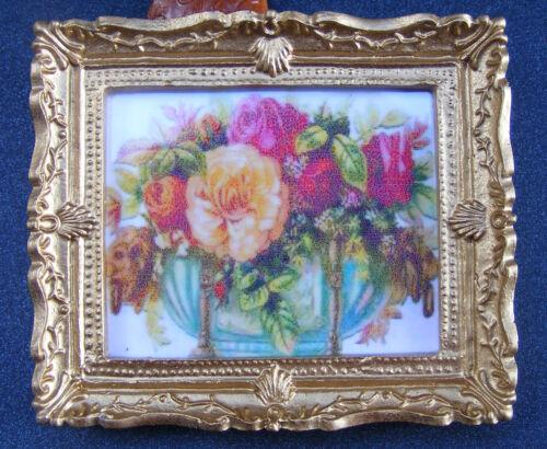 impresión Escala 1:12 Foto Enmarcada de un tazón de Flores Casa de Muñecas en Miniatura JD