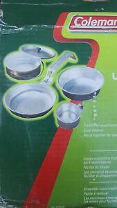 Coleman Camping Cookware | 5-Piece Aluminum Nesting Mess Kit New in bent up box