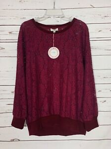 Umgee-Boutique-Women-039-s-S-Small-Burgundy-Lace-Cute-Top-Blouse-Sweater-NEW-TAGS