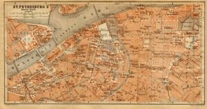 St Petersburg Ii City Centre Town City Plan Russia Baedeker 1912