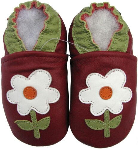 carozoo small flower red 2-3y soft sole leather toddler shoes