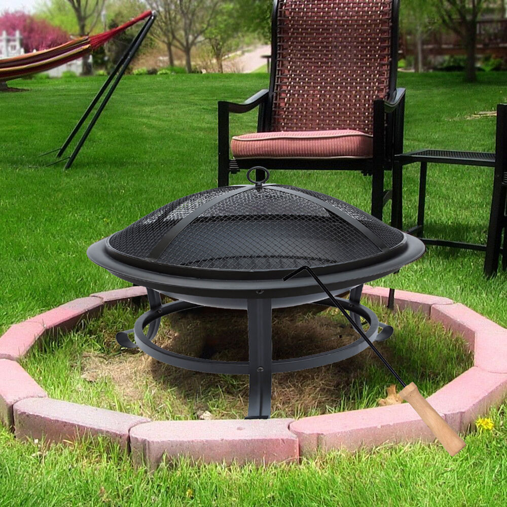 Folding Fire Pit Mesh Firepit Stand Outdoor Camping Patio Barbecue Tool Portable