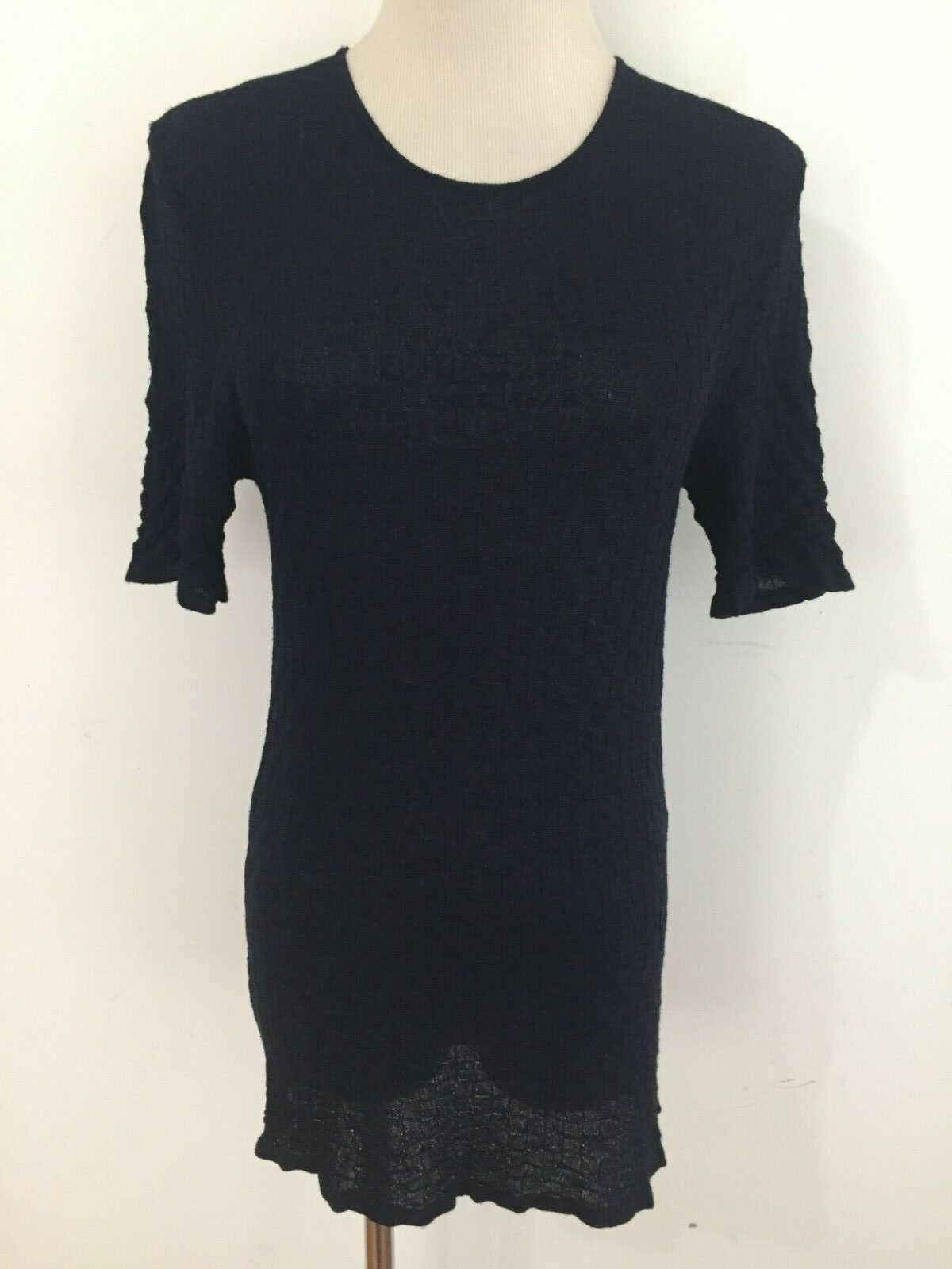 WEINBERG Paris Made in France Tunic Top Semi-Sheer Midnight bluee Size 2