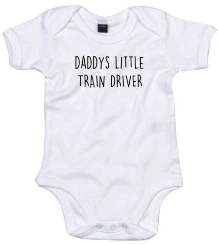 TRAIN DRIVER BODY SUIT PERSONALISED DADDYS LITTLE BABY GROW GIFT