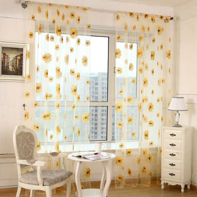 Delicate Sunflower Tulle Curtain Voile Floral Window Blind Screening Curtain Hot