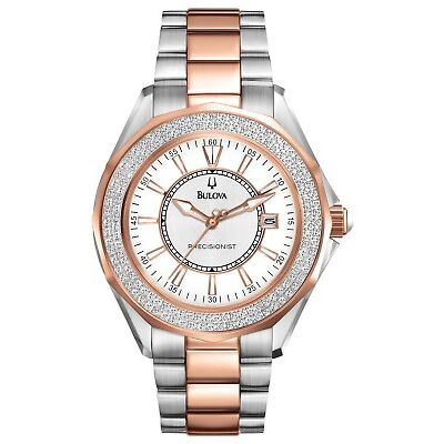 Bulova Precisionist Women's Diamonds Rose Gold and Silver-Tone Watch 36mm 98R163