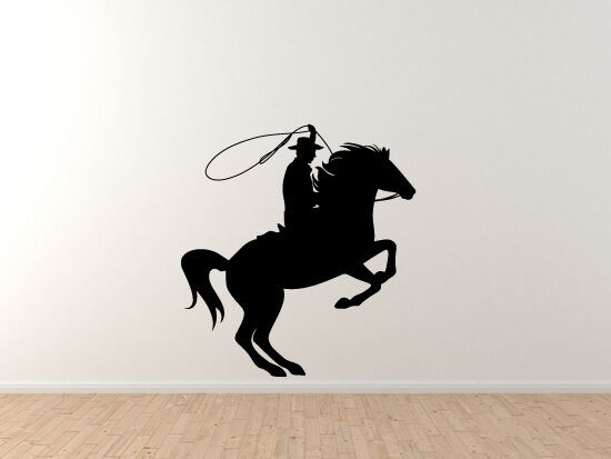 Historical American Wild West - Cowboy Lasso Riding a Horse - Vinyl Wall Decal