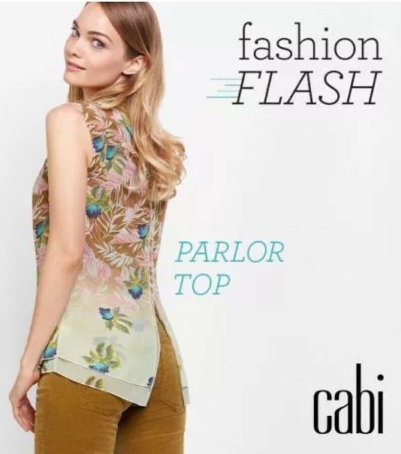 CAbi New NWT Größe XS Parlor Top Exotic Tropical 2017 STUNNING