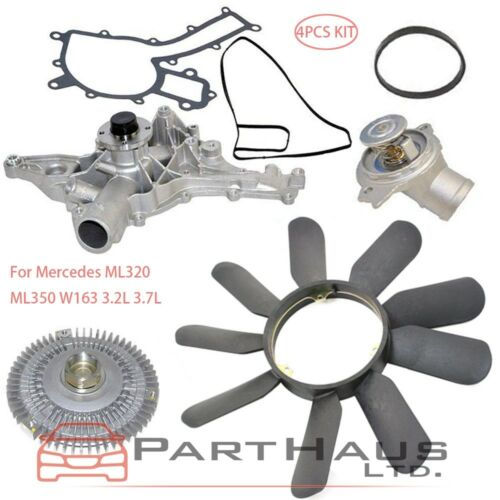 For Mercedes W163 ML320 ML350 Water Pump Fan Clutch Thermostat Fan Blade Kit New