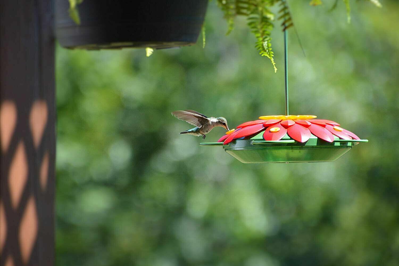 Ultimate Innovations 16oz Hanging Outdoor Hummingbird Feeder Yellow Flowers