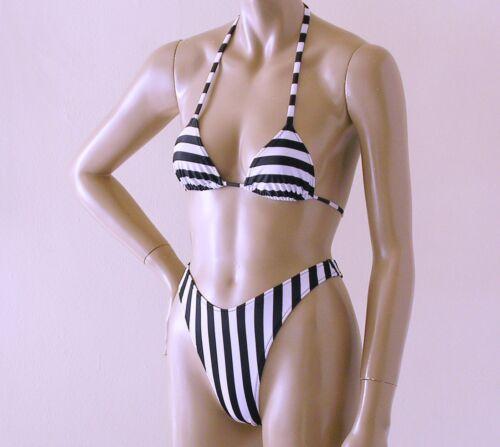 80s High Leg Thong Bikini Bottom /& Triangle Top in Wide Black and White Stripe