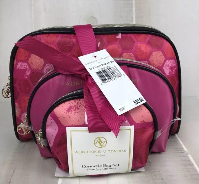 Cosmetic Bags Set Of 3 Adrienne Vittadini Pink Fushia Black Trim Dome Shaped