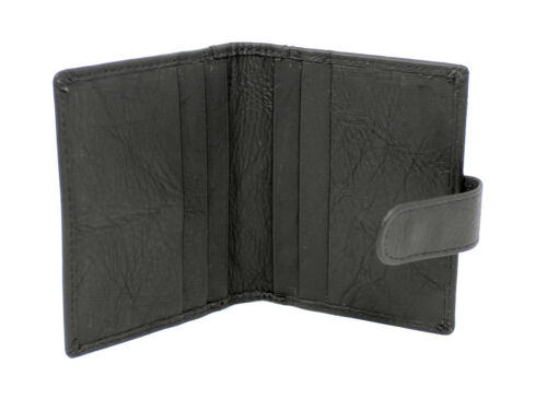 New Mens Womens Genuine Leather Small Credit Debit Card Holder Wallet Black 601