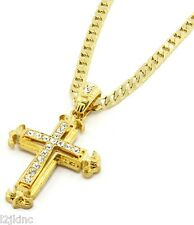 "Gold Iced Out Cz Sharp Sides Cross Pendant Hip-Hop 24"" Inch Cuban Necklace Chain"