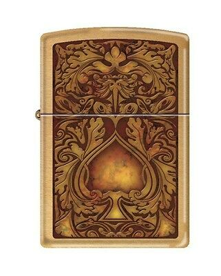 Zippo 8595, Ace of Spades, Brushed Brass Finish, ***Extra Flints & Wick***