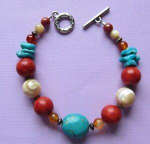 Turquoise-Coral-Bracelet-7-5-Inch-Native-American-Silvertone-Fashion-Handmade