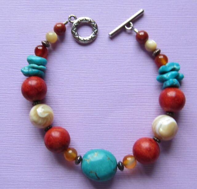 Turquoise Coral Bracelet 7.5 Inch Native American Silvertone Fashion Handmade 57