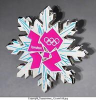 OLYMPIC PINS BADGE 2012 LONDON ENGLAND UK SNOWFLAKE LOGO DESIGN+ PINK LOGO
